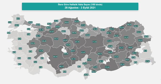 Koronavirüs Vaka Yoğunluğu Haritası